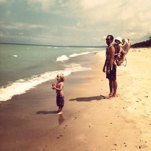 my kids and me at Lake Michigan
